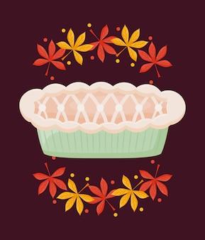 Tarte aux pommes du jour de thanksgiving avec feuilles