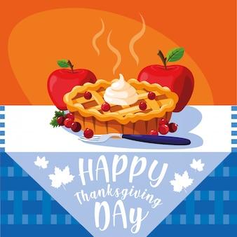 Tarte aux pommes pour le jour de thanksgiving à table