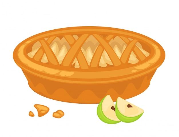 Tarte aux pommes traditionnelle américaine, à ciel ouvert et à croûte croustillante