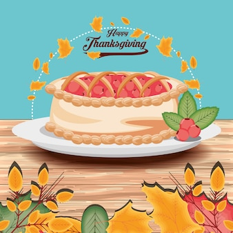 Tarte du jour de thanksgiving avec des guirlandes