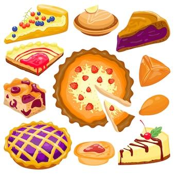 Tarte à gâteau dessin animé isolé