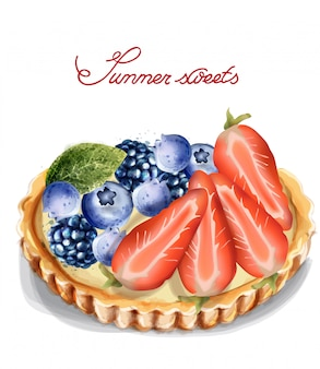 Tartelette aux fruits à l'aquarelle