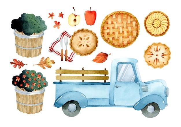 Tartes aux pommes pour l'ensemble d'éléments aquarelle de thanksgiving