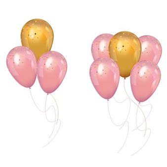 Un tas de ballons roses et or réalistes