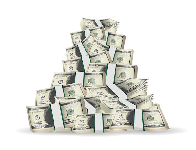 Tas de billets de banque sur un fond blanc