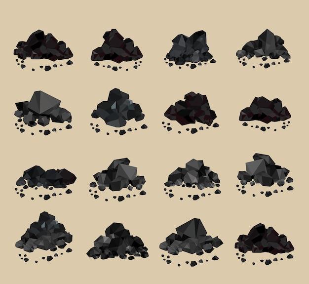 Des tas de charbon de charbon isolés