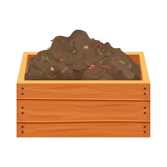 Tas de compost avec des ordures organiques et des vers de terre dans une boîte en bois en style cartoon