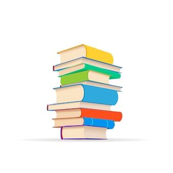 Tas de différents manuels colorés isolés sur blanc