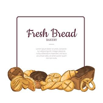 Tas d'éléments de boulangerie dessinés à la main