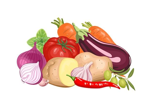 Tas de légumes frais de dessin animé.