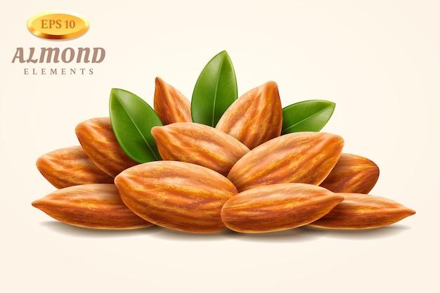 Tas de noix d'amande ou tas de noisettes décortiquées réalistes