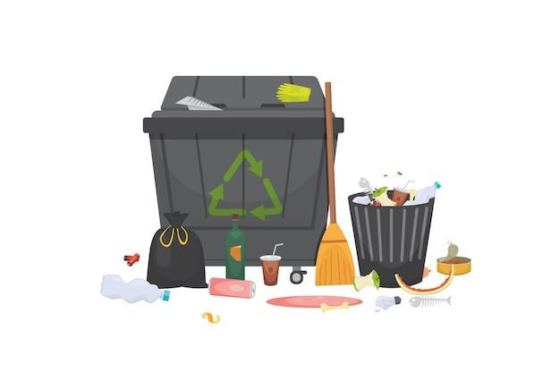 Tas de poubelle verre à ordures, métal et papier, plastique électronique, organique. illustration isolée.