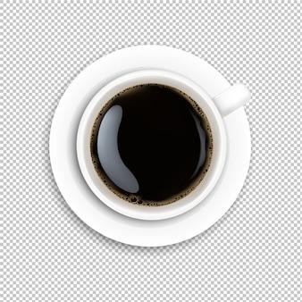 Tasse blanche café fond transparent
