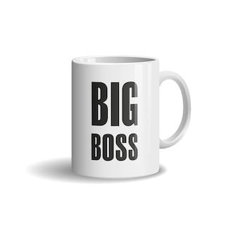 Tasse blanche réaliste sur fond blanc. big boss
