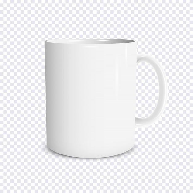Tasse blanche réaliste isolé sur fond transparent