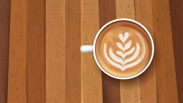 Tasse blanche de tulipe de latte de café, vue supérieure sur le fond en bois