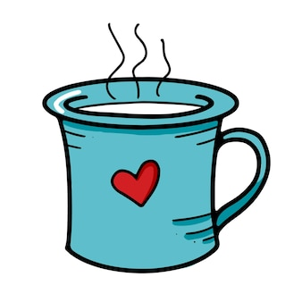 Tasse bleue mignonne avec le coeur dessiné et la boisson chaude