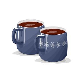 Tasse bleue, tasse sur fond blanc isolé. joyeux noël. une tasse de café, cappuccino, latte, expresso.