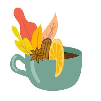 Une tasse de boisson chaude avec des épices et des feuilles d'automne concept d'automne illustration vectorielle plane
