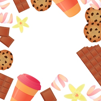 Tasse de café, une barre de chocolat, biscuits, guimauves. fond de cadre de confiserie.