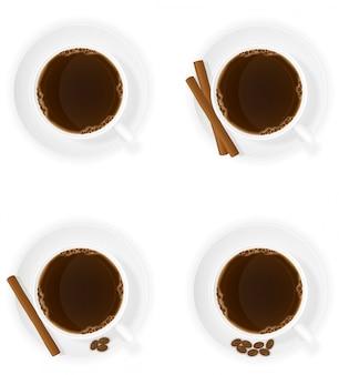 Tasse de café avec des bâtons de cannelle grain et haricots illustration de dessus vue vectorielle