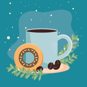 Tasse à café et beignet