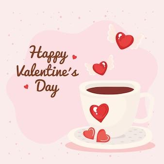Tasse à café avec des coeurs aiment l'illustration romantique et lettrage