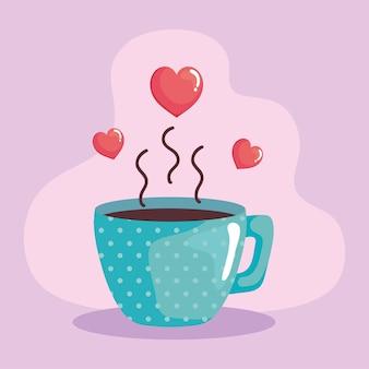Tasse à café et coeurs