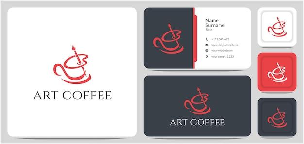 Tasse de café de conception de logo avec le vecteur de ligne abstraite de brosse de palette