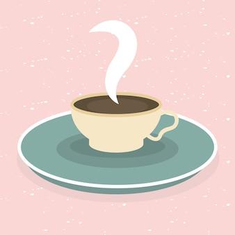Tasse à café sur la conception rose du temps boisson petit déjeuner magasin de boissons