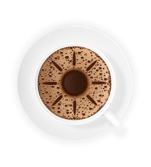 Tasse de café crème et symbole soleil