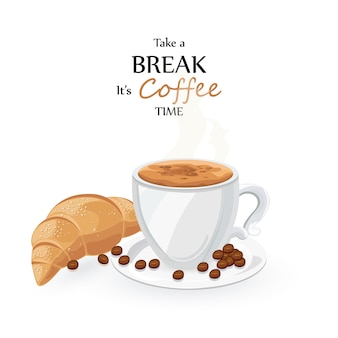 Tasse à café et croissant
