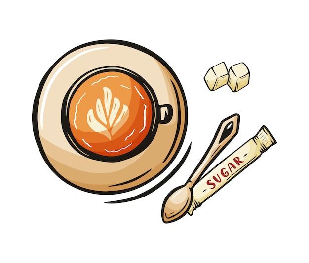 Tasse à café croquis dessiné à la main de latte, moka, cappuccino