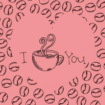 Tasse à café dessin avec des grains