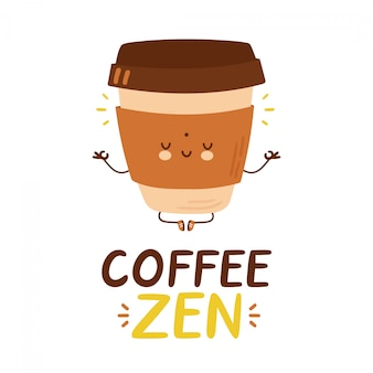 Tasse à café drôle heureux mignon. illustration de style dessiné à la main de personnage de dessin animé. création de logo zen café