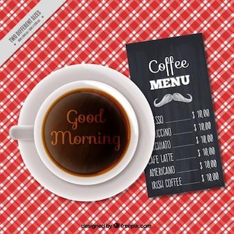 Tasse à café de fond avec un menu