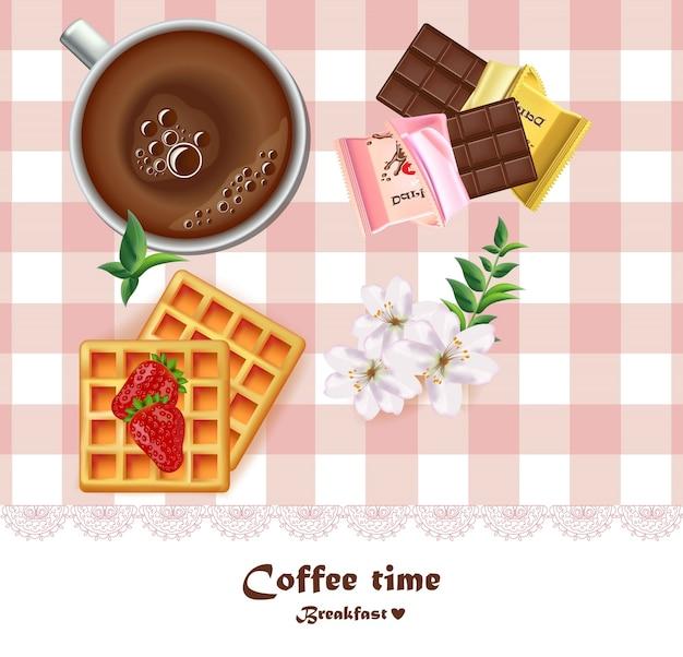 Tasse de café frais et gaufres et chocolats petit déjeuner vector. dessins réalistes vue de dessus