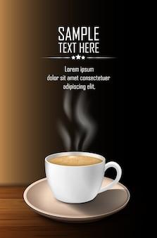 Tasse de café avec de la fumée sur une table en bois