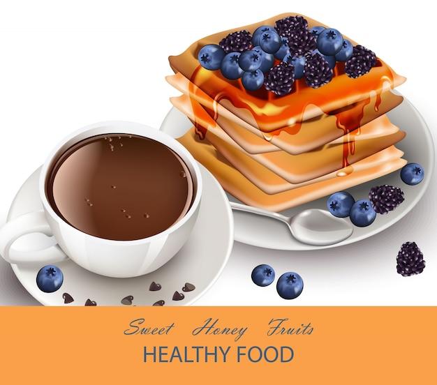 Tasse de café et de gaufres vecteur de petit déjeuner sain