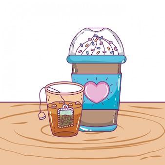 Tasse de café glacé et thé