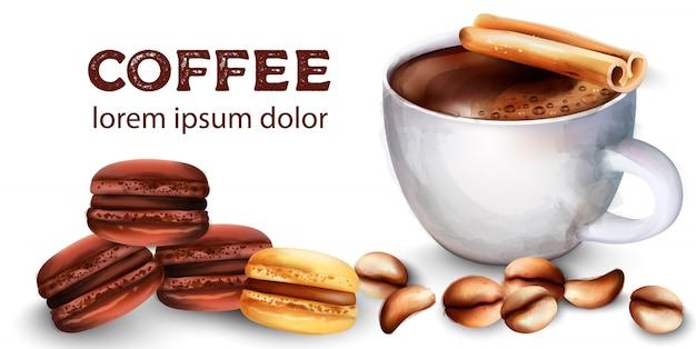 Tasse de café, grains, bâtons de cannelle, bonbons macarons français