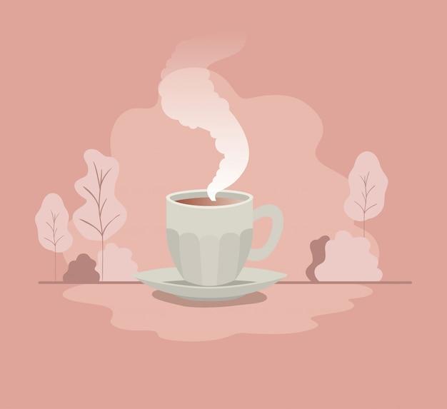 Tasse de café avec icône isolé plaque