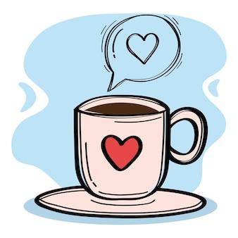 Tasse à café avec icône de style doodle bulle discours