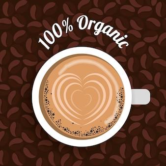 Tasse à café avec l'image du coeur