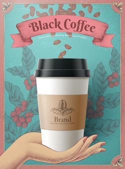Tasse à café jetable en illustration 3d sur des grains de café et des feuilles de conception de gravure