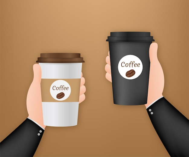 Tasse à café jetable à la main. illustration vectorielle de stock.