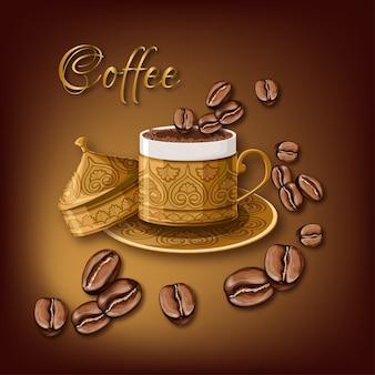 Tasse à café en laiton ornée de grains de café