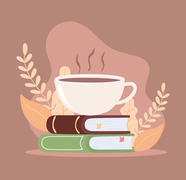 Tasse de café sur des livres
