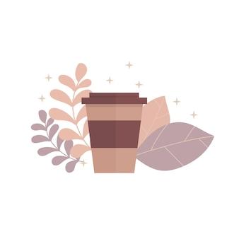 Tasse à café marron avec feuilles, décor beige, design plat
