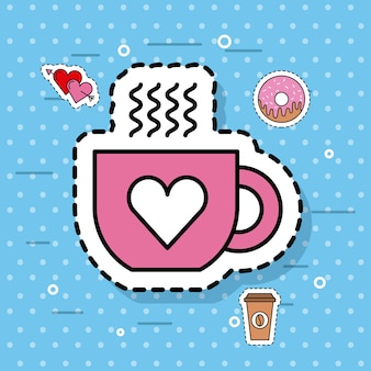Tasse de café mignon amour coeur chaud dessin animé